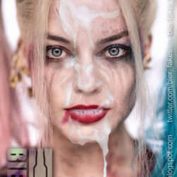 Margot Robbie As Harley Quinn Fake Cumshot Has Her Make-Up Completely Ruined