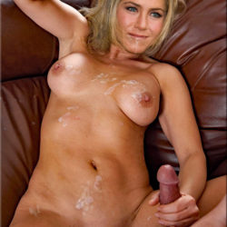 jennifer aniston porn fake making a cock cum all over her body