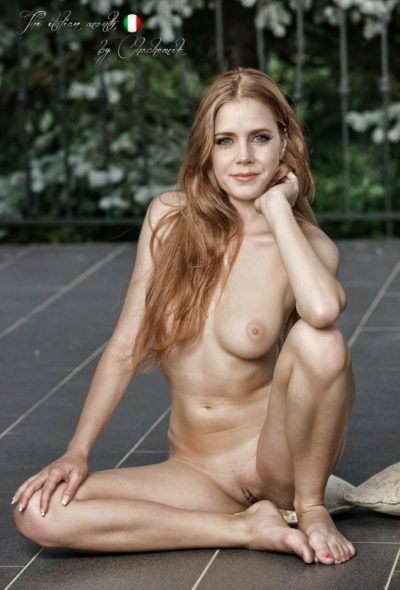 Amy Adams posing fake nude outside with a shaved vagina