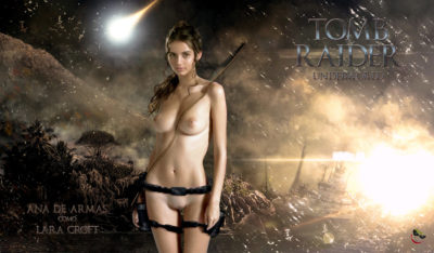Ana de Armas posing fake nude as Lara Croft
