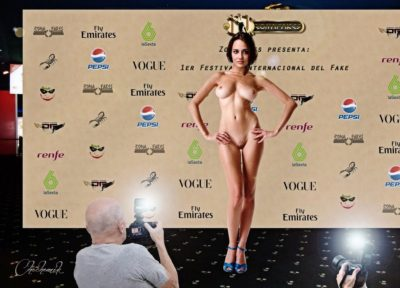 Blanca Espino posing fake nude for a photographer in public