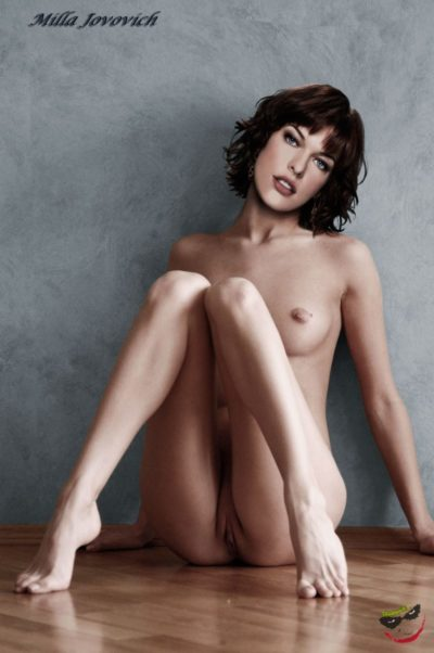 milla jovovich posing fake nude on the floor with sexy feet and pussy