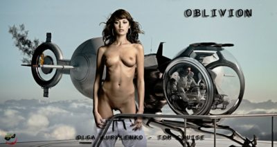 olga kurylenko posing fake nude in the oblivion movie