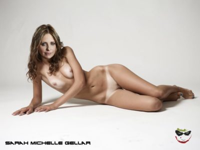 sarah michelle gellar posing fake nude lying on the floor