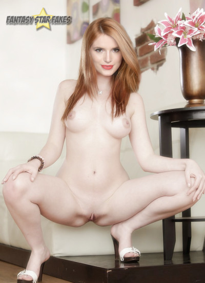 bella thorne poses sexy and nude with shaved pussy and high heels